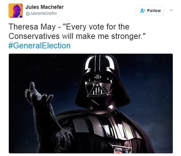 On a lighter note: As Theresa May calls UK General Election some are reminded of her dark side