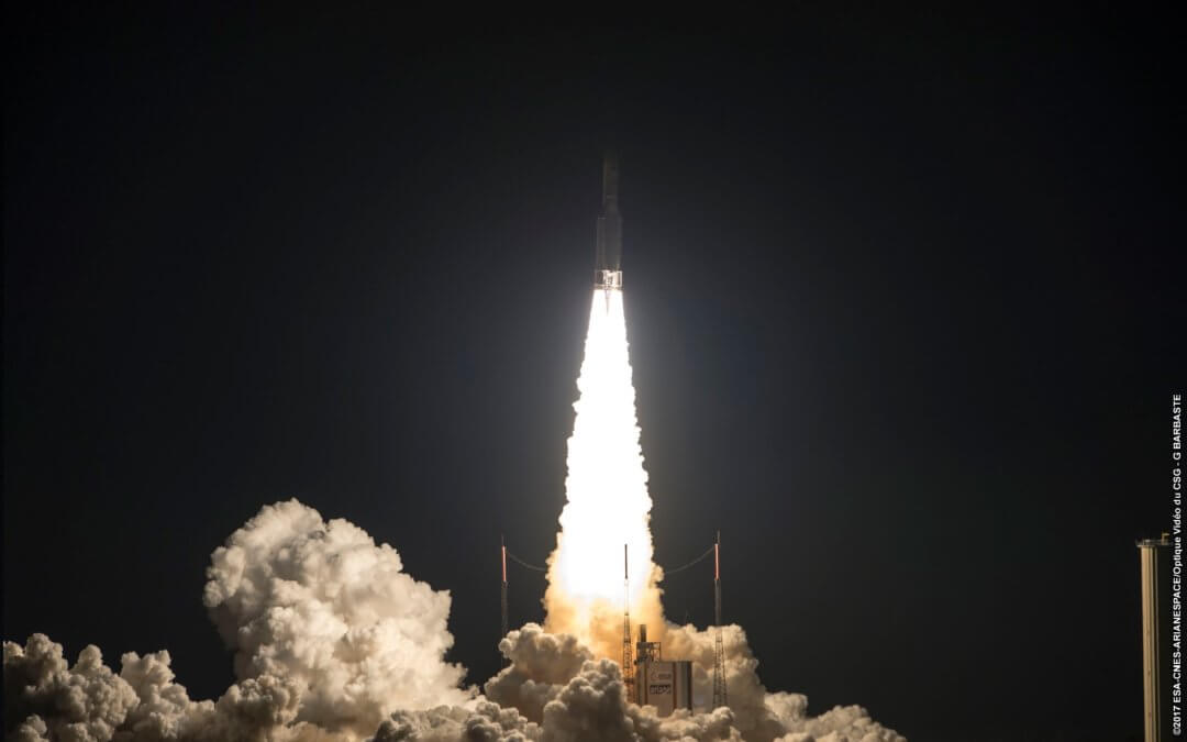 79th consecutive successful Ariane 5 launch orbits two comm sats and increases payload weight record