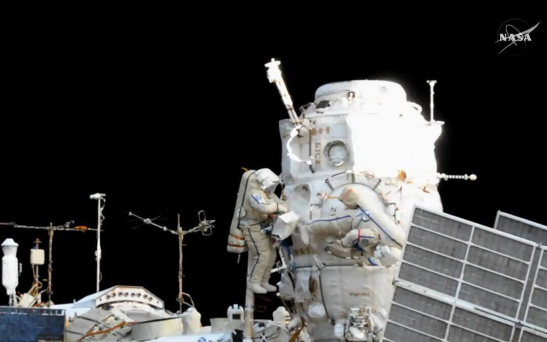 Cosmonauts complete extended ISS spacewalk deploying serveral nanosatellites and conducting station maintenance
