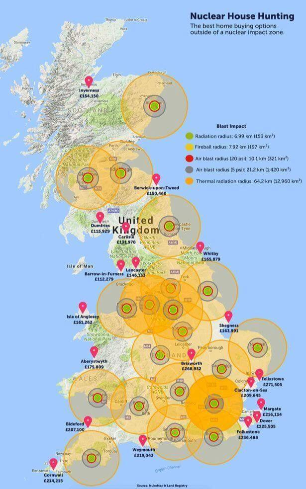 Map Of Uk Nuclear Bunkers.On A Lighter Note Estate Agent Launches Uk Nuclear War Risk Map
