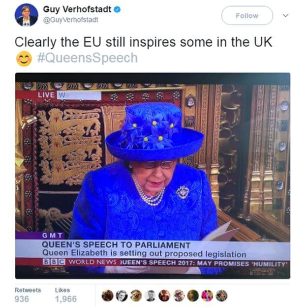 "On a Lighter Note: Her Majesty talks ""through her hat"" in space-ed out Queen's speech and has trouble with the ""Rozzers"" and tardy ""Black Rod"""