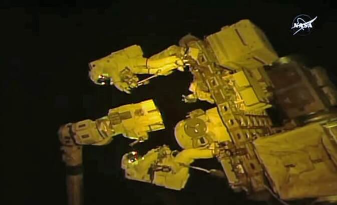 Spacewalk performed to swap latching end effector on robot arm