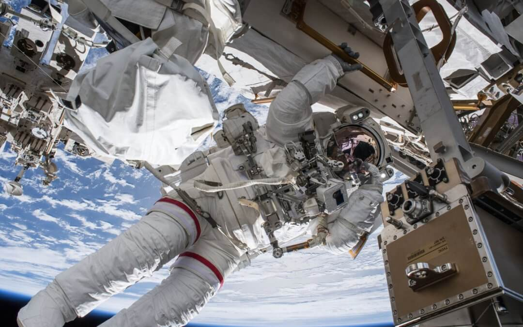 Experienced NASA astronauts make spacewalk together