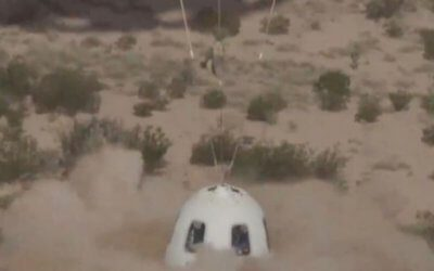 New Shepard makes suborbital flight test of escape system and carries mu-Space payload