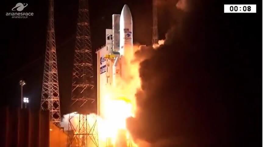 Ariane 5 launches for 100th time putting two comsats into orbit
