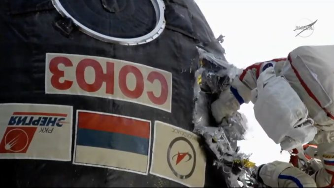 "Cosmonauts make spacewalk to check out ""puncture"" repair to damaged Soyuz"