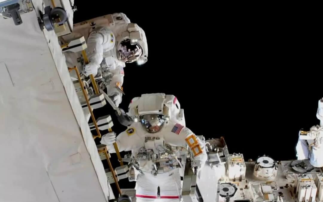 Spacewalking astronauts connect new batteries on ISS Spacewalking astronauts connect new batteries on ISS as later all-women-EVA is cancelled due to lack of suits