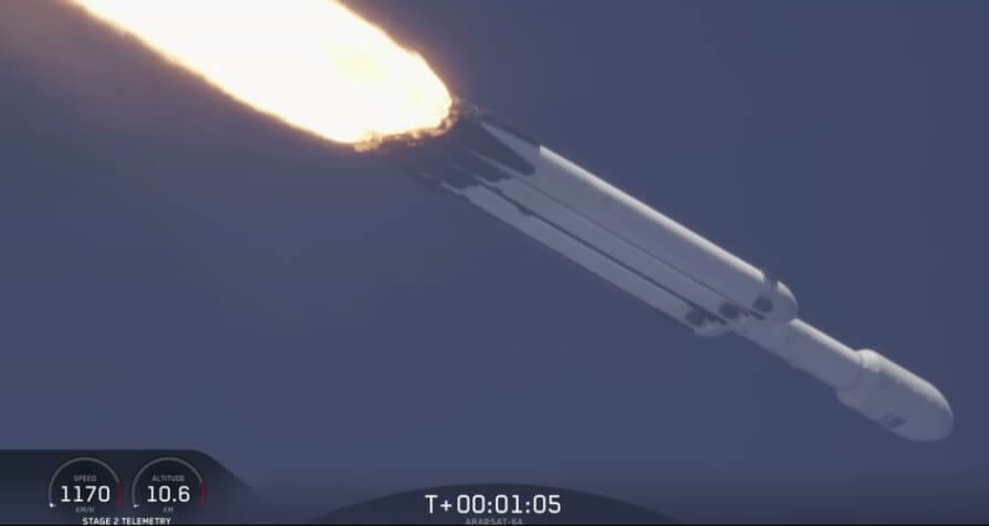 Falcon Heavy launches Arabsat 6A as SpaceX manages to recover all three of its boosters but later one fell overboard