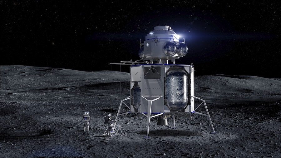 Blue Origin reveals Blue Moon lunar lander design…as NASA names lunar return plan Project Artemis and orders PPE from Maxar