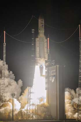 Ariane 5 launches three satellites into Geostationary transfer orbit