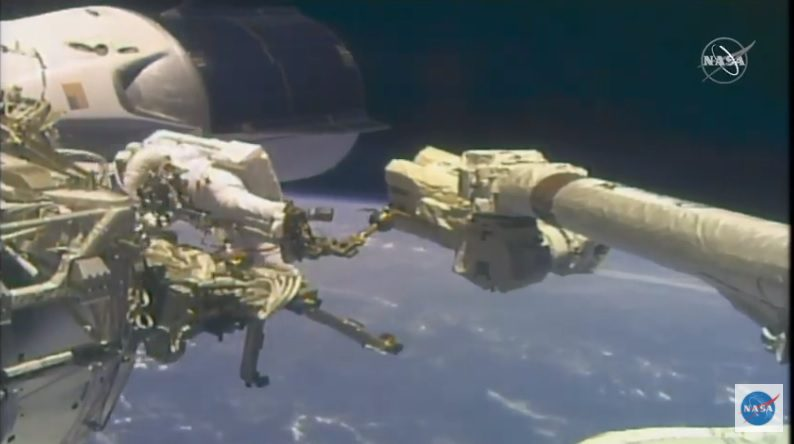 ISS spacewalkers attached a new Ka-band antenna but there were connector problems
