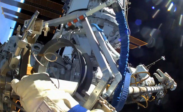 Cosmonauts ready the ISS for a new module