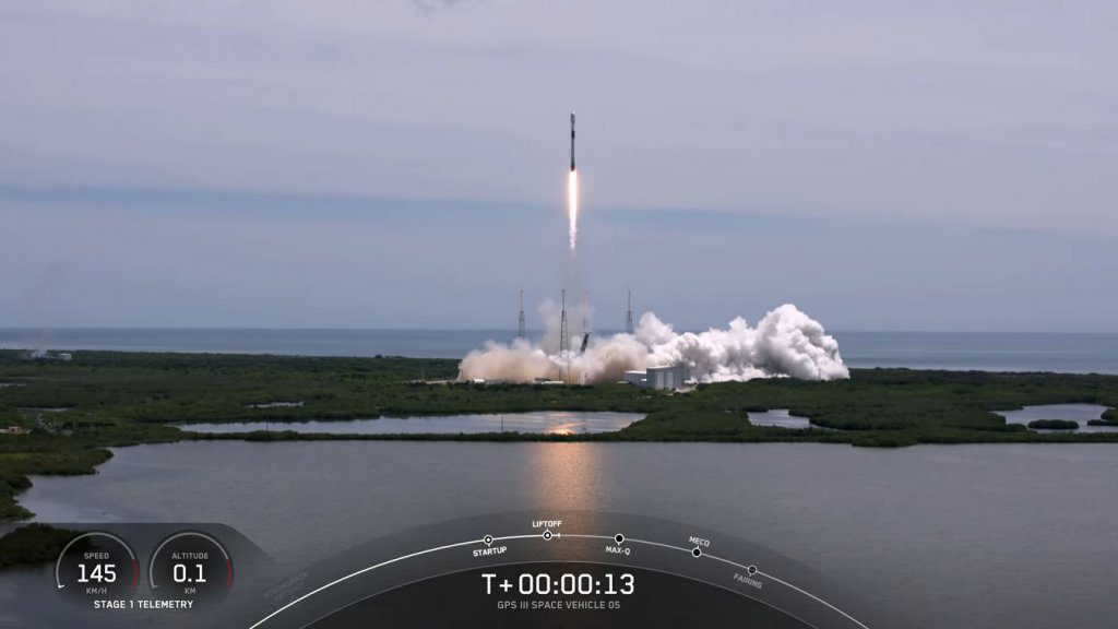 The Falcon 9 lifts-off for the second time carrying another GPS satellite into orbit